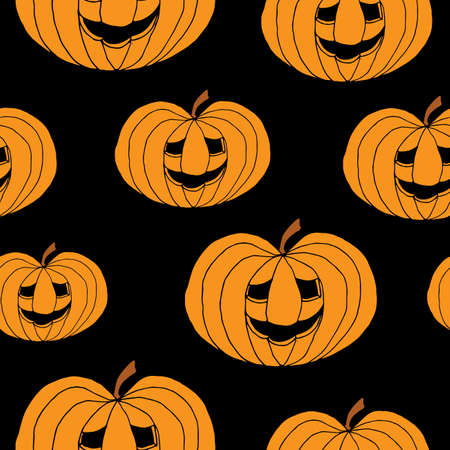 Abstract seamless pumpkin pattern for girls,boy, kids, halloween, clothes. Creative vector halloween pattern with pumpkin scary face, smile. Funny pumpkin pattern for textile and fabric. Fashion style Иллюстрация