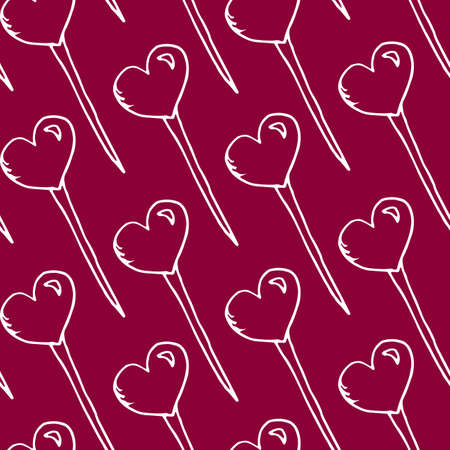 Texture of lollipops in the shape of a heart on a pink background. Cute contours of lollipops. Lollipops hearts Иллюстрация