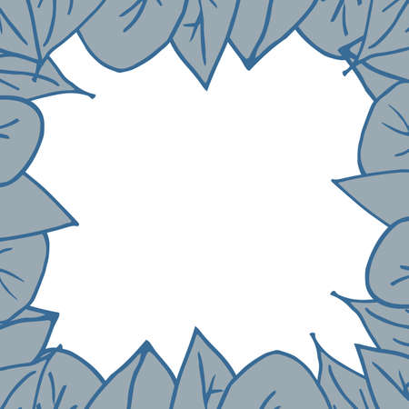 Frame of blue leaves on a white background. Cartoon leaves forming a square frame. Vector illustration Stock fotó - 155446230