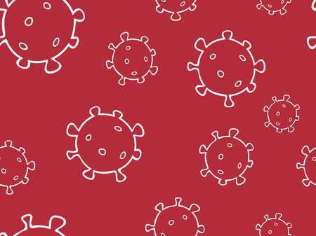 Seamless pattern bacterium virus vector illustration. Stop COVID-19. Outline doodle color background, texture. Contour drawing of virus cells on a red background. Design for quarantine events.
