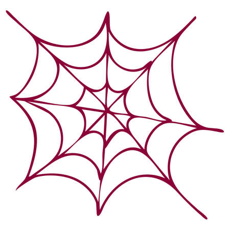 Purple spider web isolated on white background. Halloween web is a scary, ghostly, spooky element of Halloween design. Vector