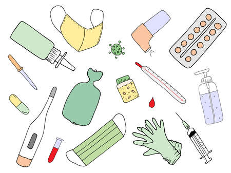 Medical doodles. Hand drawn medicine icon set. Healthcare sketched collection, pharmacy icons. Cartoon doodle objects, symbols and items. Vector illustrations.