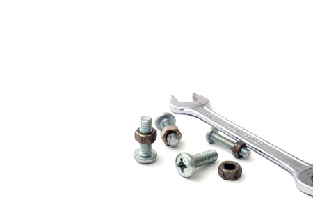 s nuts and bolts on a white background photo