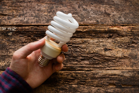 energy efficiency: man holds a light bulb to save energy