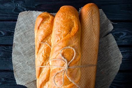 few loaves of bread on a napkin