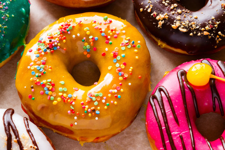 glazes: donuts in different tastes of different glazes Stock Photo