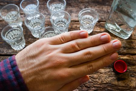sobriety: man refuses to vodka, stop alcoholism Stock Photo