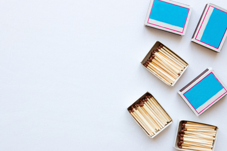 matchboxes on white background with space for text Stock Photo