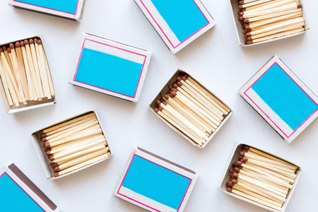 matchboxes on white background Stock Photo