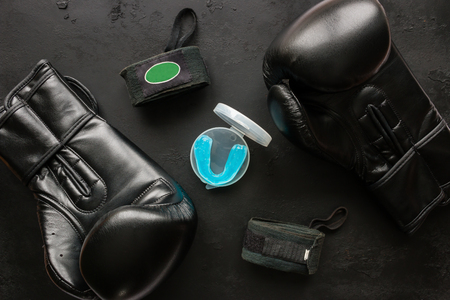 Boxer accessories - gloves, bandages, mouth guard Stock Photo