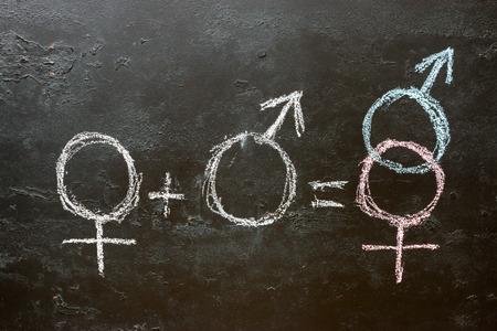 Símbolo de género masculino y femenino y signo de heterosexualidad Foto de archivo - 87547920