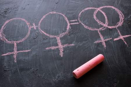 gender symbols of female homosexuality on a black background