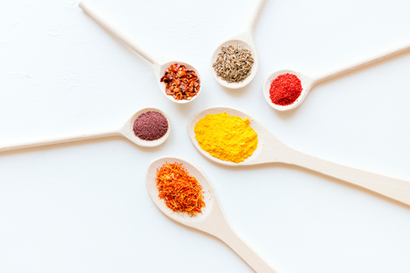 spoons with different spices on a white background