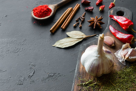 Spices and herbs on a cutting board with place for text on a black background Standard-Bild