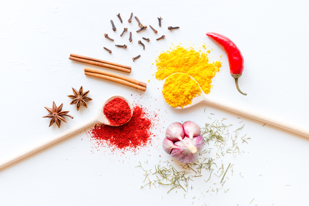 spices and herbs on a white background