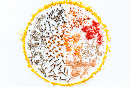 seasonings and spices for cooking in the shape of a circle on a white background