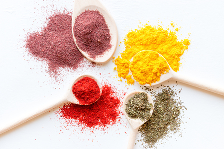 colorful spices close up on a white background