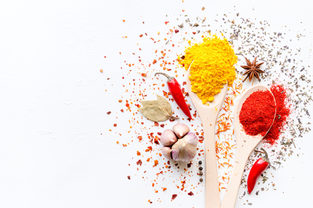 Spices in spoons and scattered on a white background with space for text Standard-Bild