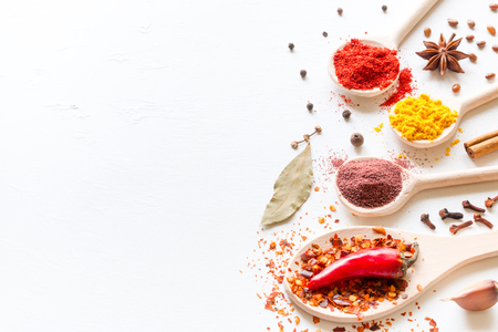 seasonings and spices on a white background with space for text