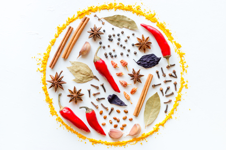spices and herbs in the shape of a circle on a white background
