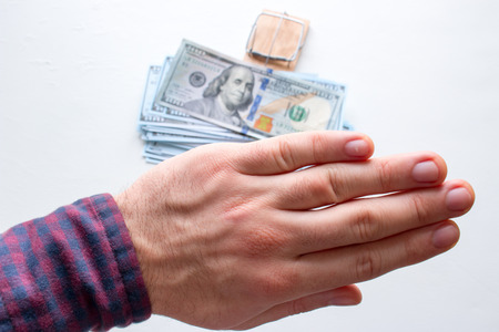 a man refuses a bribe close-up. the concept of the fight against corruption Stock Photo