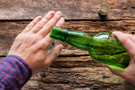 refuses alcohol concept stop alcoholism Foto de archivo