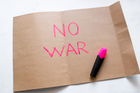 no war text written on paper