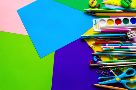 stationery to school on a colorful background with space for text