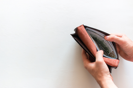 man and wallet with money on white background with place for text Stock Photo
