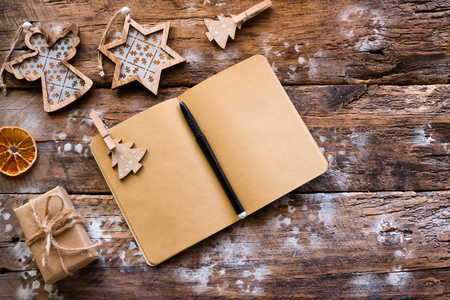 Christmas Wish List on a wooden background template