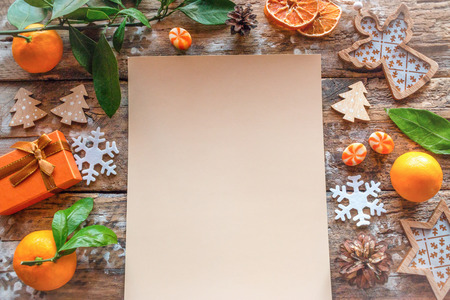 Christmas letter with a list of wishes for the new year on a wooden background template