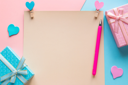 a blank note and gifts for Valentines Day with a copy space