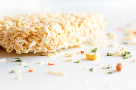 instant noodles on a white background close-up