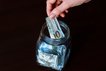 donation jar. gives money to charity