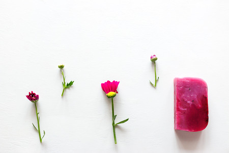 homemade natural herbal soap and flowers with place for text on white background 写真素材