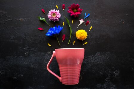 pink mug and flowers, petals and herbs on a black background