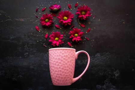 Pink mug and gerbera flowers on a black background. scattering of flowers and petals top view