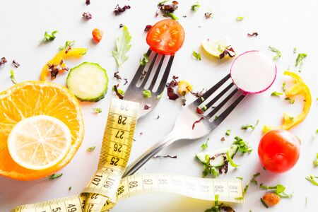 vegetables on a fork concept diet, fat burning, healthy lifestyle Foto de archivo - 131827053