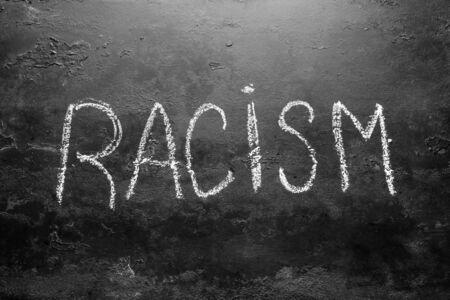 racism inscription on a black background concept Stop racism