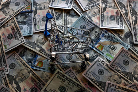 grocery cart on the background of dollar bills, concept crisis, inflation Zdjęcie Seryjne