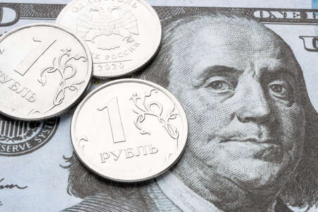 dollar bill and russian ruble close up devaluation of currency Zdjęcie Seryjne