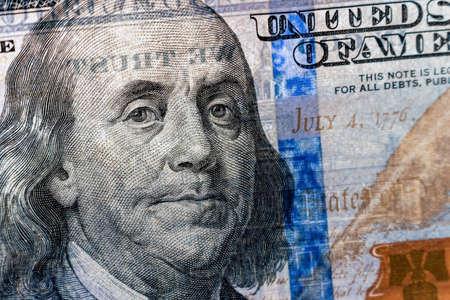 American dollar banknote Franklin portrait closeup