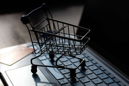 grocery cart on a computer keyboard and credit card, online shopping concept, online store Zdjęcie Seryjne