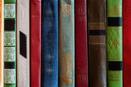 home library of literature. hardback books close-up