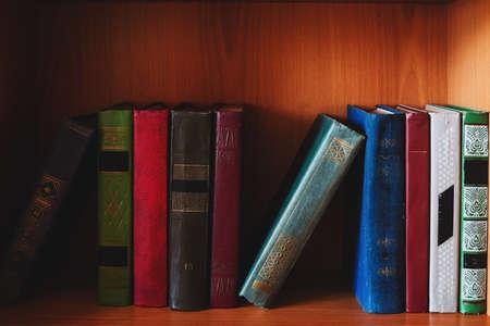 bookshelf with hardback books study concept Zdjęcie Seryjne