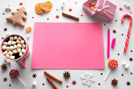 wish list, sweets and New Year decorations on a white background mockup Zdjęcie Seryjne - 160504744