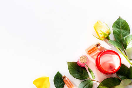 home made cream, lotion, natural oil cosmetics on white background Stock Photo