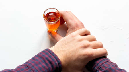 holding his hand not to drink alcohol concept fight against alcoholism addiction Stock fotó