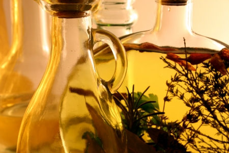 Kitchen bottles filled with oils  Stock Photo
