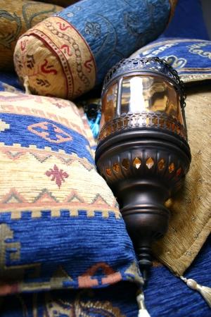 Turkish cushions and lamp Stock Photo